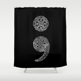 Patterned Semicolon: White on Black Shower Curtain
