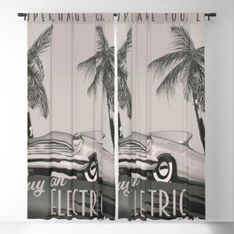 Electric Car Vintage Advert Black and White Blackout Curtain