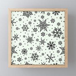 Christmas Winter Snowflake Wallpaper Pattern On White Framed Mini Art Print