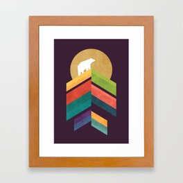 Lingering mountain with golden moon Framed Art Print