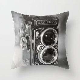 Rolleiflex Camera Tintype Throw Pillow