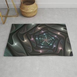 Metallic Spiral, Modern Abstract Fractal Art Rug
