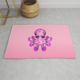 Cute Pink Baby Octopus Rug