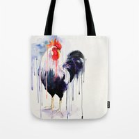 rooster Tote Bags featuring Rooster  by Slaveika Aladjova