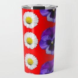PURPLE PANSIES, WHITE DAISIES, MONARCH BUTTERFLIES RED ART Travel Mug
