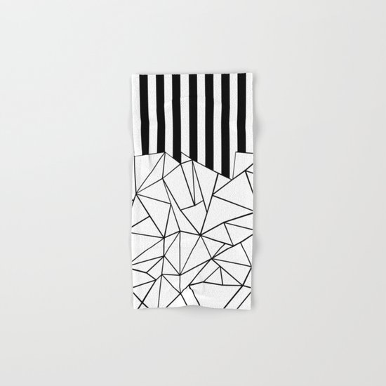 Abstract Outline Stripes Black and White Hand & Bath Towel