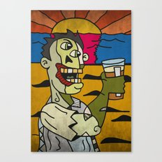 Zombie Drinking a Pint of Beer at Sunset Canvas Print