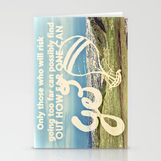 Adventure Quote, hot air balloon Stationery Cards