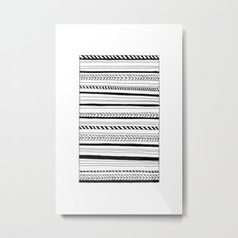 Abstract Black Lines Pattern Metal Print