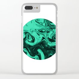Marbled suminagashi paper marbling circle jade marble minimalist watercolor painting Clear iPhone Case