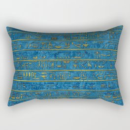 Golden Embossed Egyptian hieroglyphs on blue Rectangular Pillow