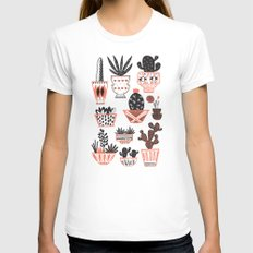 Mid-Century Modern Cacti  LARGE Womens Fitted Tee White