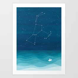 Orion Constellation, teal ocean sailboat illustration Art Print