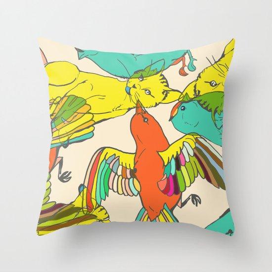 CATS AND BIRDS Throw Pillow