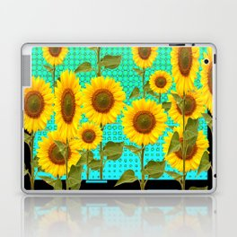 SUNFLOWER FIELD BLACK-TURQUOISE GRAPHIC Laptop & iPad Skin