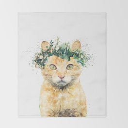 Boho Watercolor Cat, Cat Lady, Plant Lady, Funny cute Cat, home decor, nursery animal wall art Throw Blanket