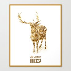 Old School Rocks! Gold Deer Version Canvas Print