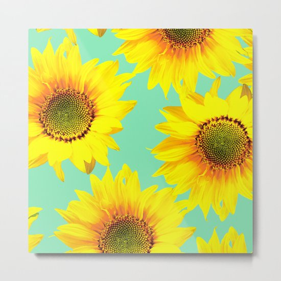 Sunflowers on a pastel green backgrond - #Society6 #buyart Metal Print