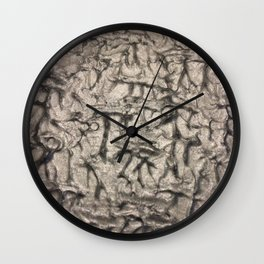 Silver Waves and Ripples Textured Wavelet Paint Art Wall Clock