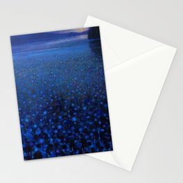 'Duckweed in Lake in Blue Twilight' landscape painting by K. Yamashita Stationery Cards