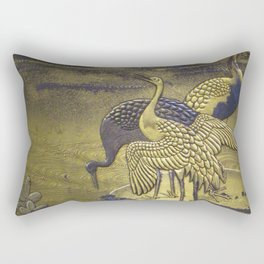 Golden Birds Rectangular Pillow