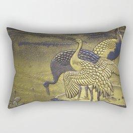 Golden Birds Rectangular Pillow