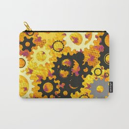 YELLOW-BLACK CLOCK WORKS MECHANICAL ART Carry-All Pouch