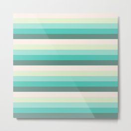 soft green stripes Metal Print