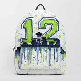 Seattle 12th Man Art Seattle Skyline Space Needle Backpack
