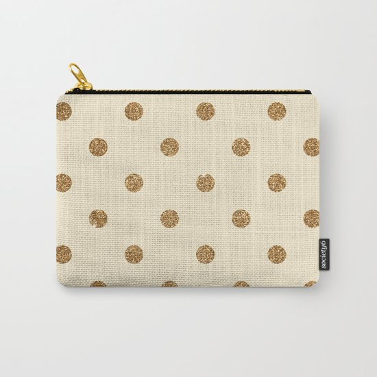 Cream Gold Glitter Dots Carry-All Pouch