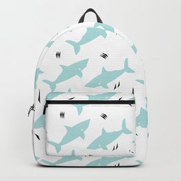 Minty Postmodern Sharks on White Backpack