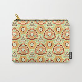 Fiesta of Triangle Pyramid Floral Dots , Turquoise, Orange and Brown Mexican Style Carry-All Pouch