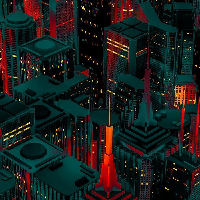Night city glow cartoon Leggings