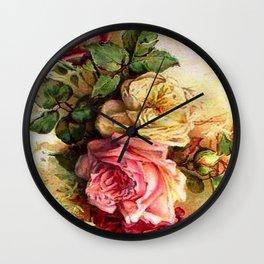 Vintage Rose Bouquet Wall Clock