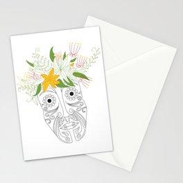 Tattoo Maori-style Polynesian flower head Stationery Cards