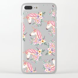 Pink lilac yellow green watercolor magical unicorn floral Clear iPhone Case