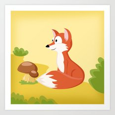 Woodland Animals Serie I. Fox Art Print