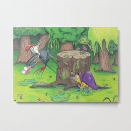 Two Birds with One Worm Metal Print