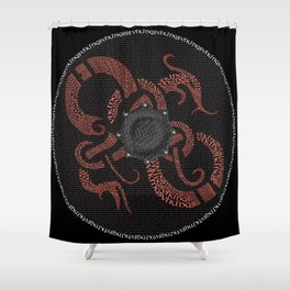 Graphic Watercolor Norse Viking Dragon Shield: Fortitude, Courage & Strength Shower Curtain