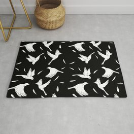 Little Birds Black and White Pattern Rug