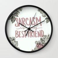 sarcasm Wall Clocks featuring Sarcasm by Sarah Brust