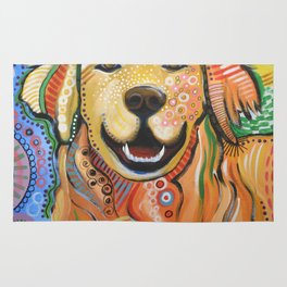 Max ... Abstract dog art, Golden Retriever, Original animal painting Rug