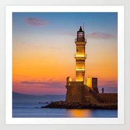 Lighthouse at the old harbour in Chania, Greece Art Print
