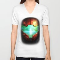 metroid V-neck T-shirts featuring Metroid by Joe Roberts