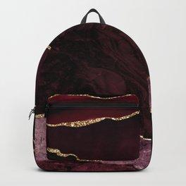 Burgundy Geode & Gold Glitter Backpack