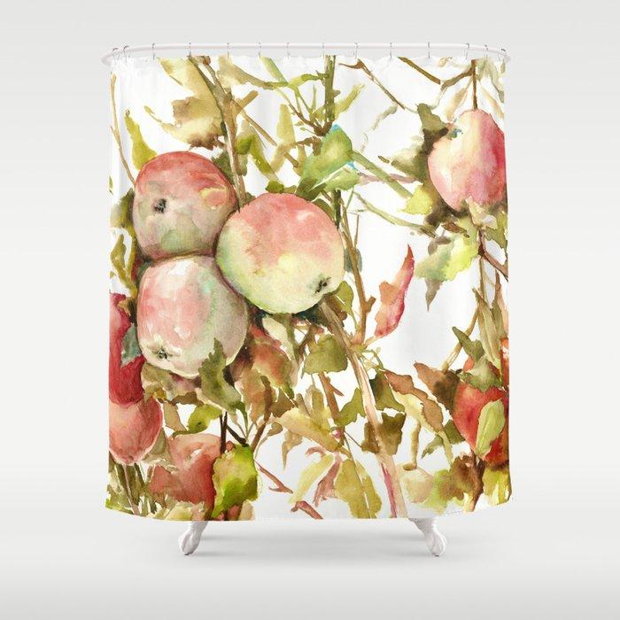 Apples, Apple Tree kitchen design illustration fruits Shower Curtain by  sureart