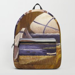 Sioux Native American Hunters on Lake Vermilion, Minnesota Territory landscape by Margaret Martin Backpack