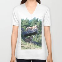 lions V-neck T-shirts featuring Lions by Art I Am