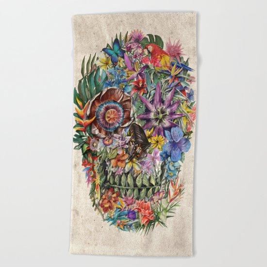 tropilcal floral skull 5 Beach Towel