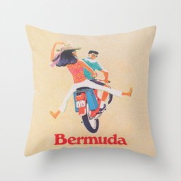 Bermuda on a Scooter Vintage Travel Throw Pillow